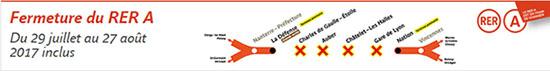 Fermeture du RER A du 29/07 au 27/08 2017 inclus